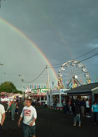 A double rainbow appeared in the sky during the Gamber carnival after a spring rain.