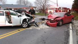 A two-car collision on Rt 32 in Westminster on Saturday afternoon.