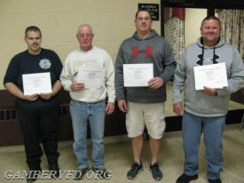 Most EMS Training Hours - Jeremy Hutton, Stan Mertz, Chad Hastings, and Mike Franklin.