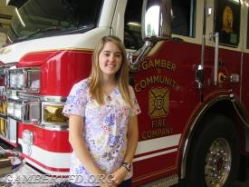 Brittany Hill, 2017 Gamber & Community Fire Co. Scholarship Award winner.