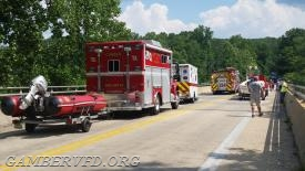 Apparatus staging on the bridge.