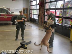 Corporal Matt Wilson assists with the K-9 demonstration with Jake and Master Deputy Powell.