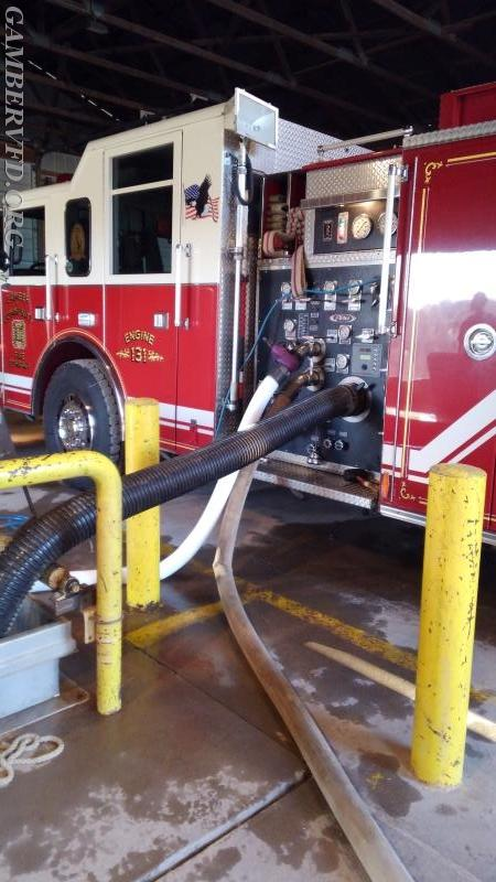 Gamber Engine 131 drafts water from the underground pit while testing its pump.
