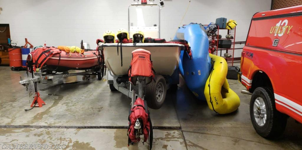 Boat 13-1, on the left and smaller inflatable boats to the right returned to service and drying out in the Gamber station. Boat 13, center, was not used.