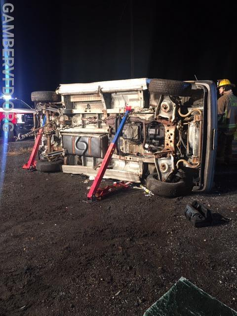 Crews practiced stabilizing a vehicle on its side.