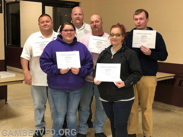 Six members with the most suppression training hours for 2018 (l to r) are Mike Franklin, Emily Franklin, Charlie Green, Frank Smith, Stacia Hutton, and Todd Tracey.