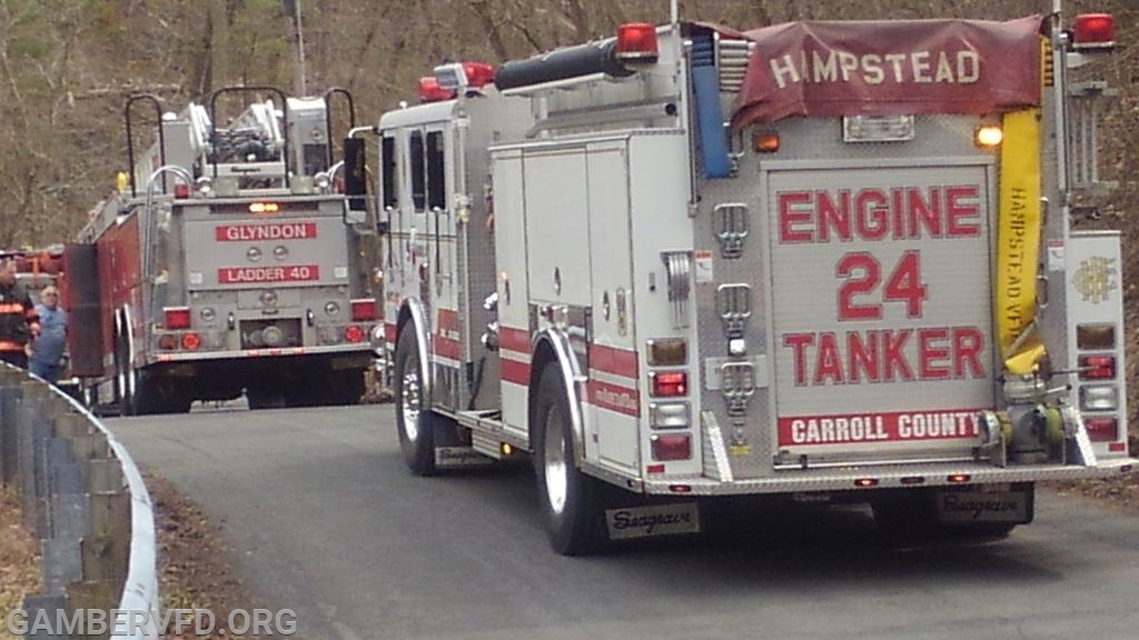 Tanker and apparatus staging on Hughes Road.