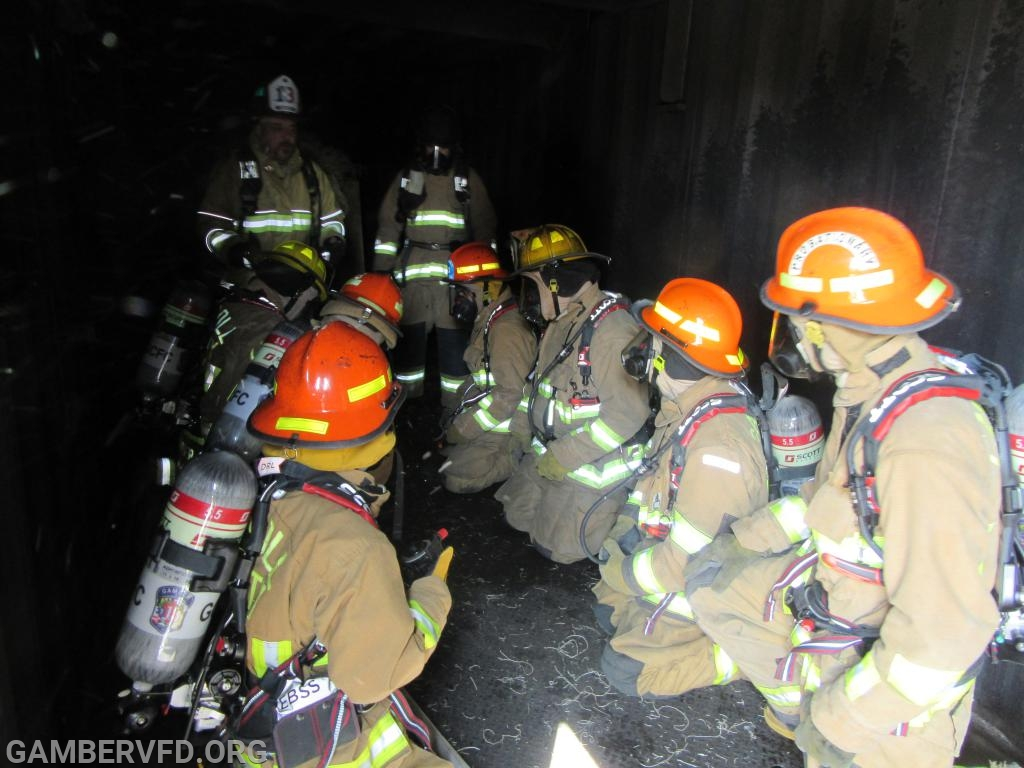 Inside the burn building prior to the first burn scenario.