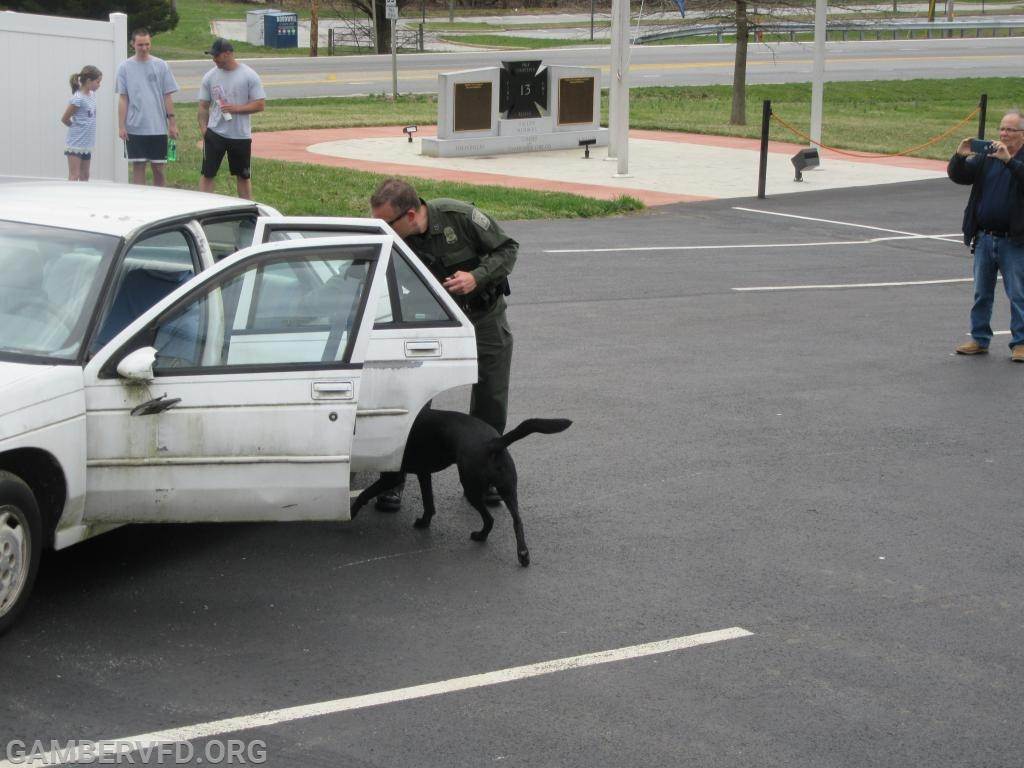 "Senior Deputy State Fire Marshal Oliver Alkire and his K-9 partner ""Kachina"" search a vehicle for traces of accelerant in an ""arson"" case."