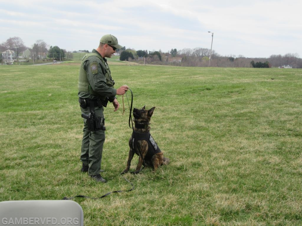 Carroll County Sheriff K9 Handler Deputy Shue and his K-9 Bali prepare to do a demonstration.