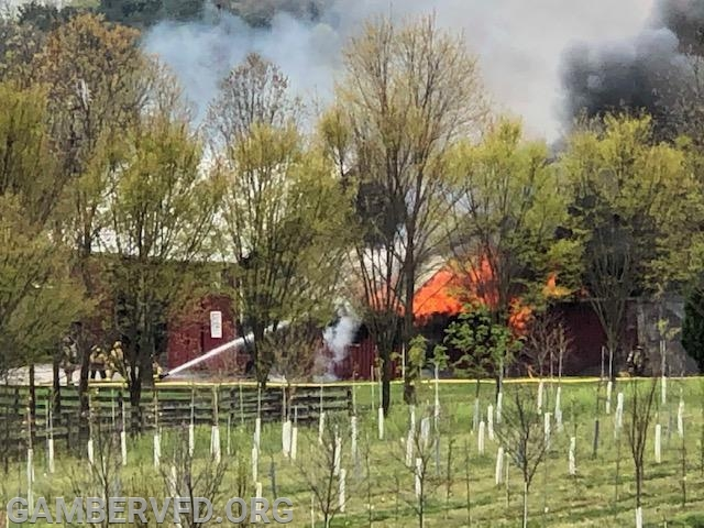 The barn fire after the arrival of initial units. Photo by Randy Panos