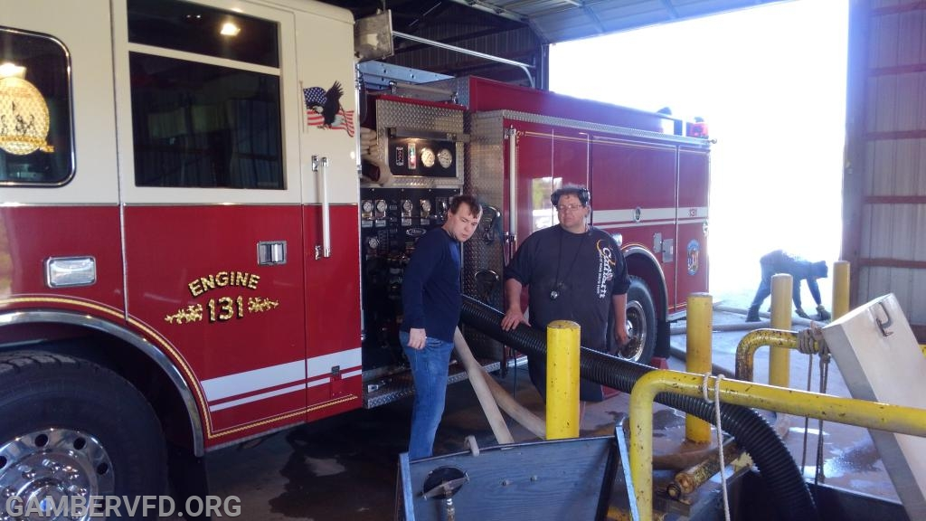 Engine 131 during the pump test. Gamber driver, Todd Tracy (l) and CCVESA pump test committee member, Jess Dening.