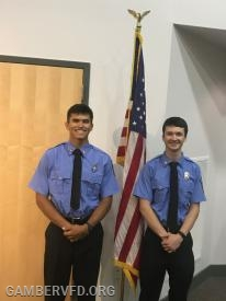 Gamber & Community Fire Co. members Joe Petrowicz and Jack Bez (l to r) graduated from the Emergency Services Training (EST) Program.