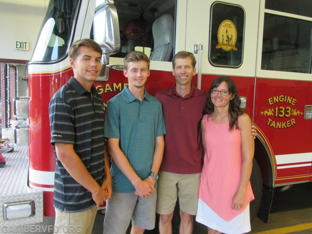 Scholarship winner Wyatt Cox with his family, brother Garrett (l to r), Wyatt, and parents David and Tiffany.