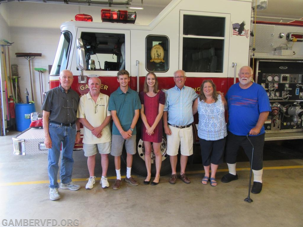 The Oscar Brothers Scholarship winners pose with the fire company's scholarship committee and members of the Brothers Family. (l to r) Clay Myers, Terry Brothers, Wyatt Cox, Sydney White, Gary Brothers, Chrissy Green, and Cliff Yeager.