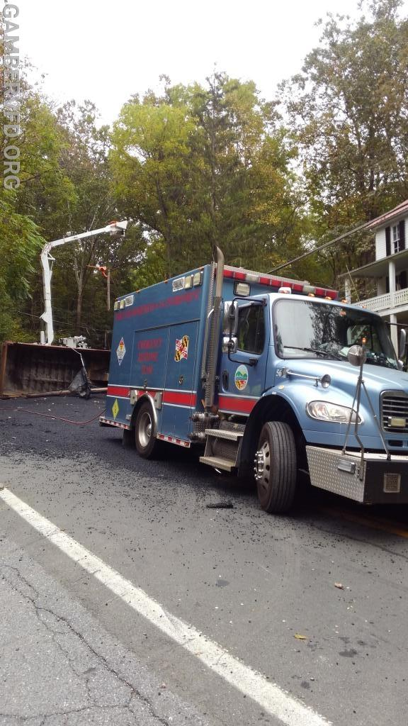 The MDE truck backed up and prepared to remove diesel fuel from the truck.