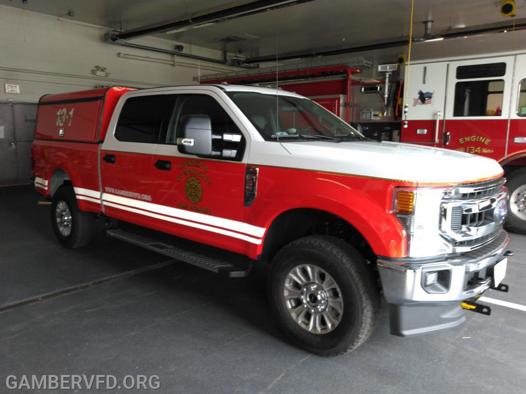 The new Ford F-350 pickup in its new colors and lettering and badging.