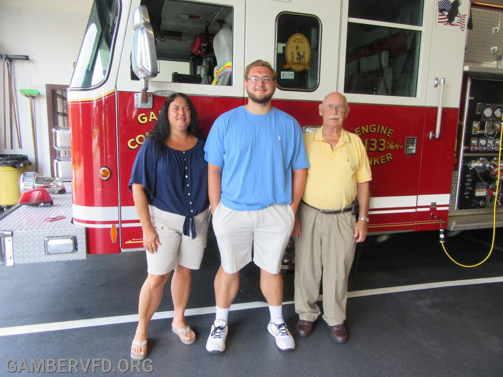 Gamber & Community Fire Co. scholarship winner Patrick Almony with his mother, Donna and grandfather, Bob Klinefelter.