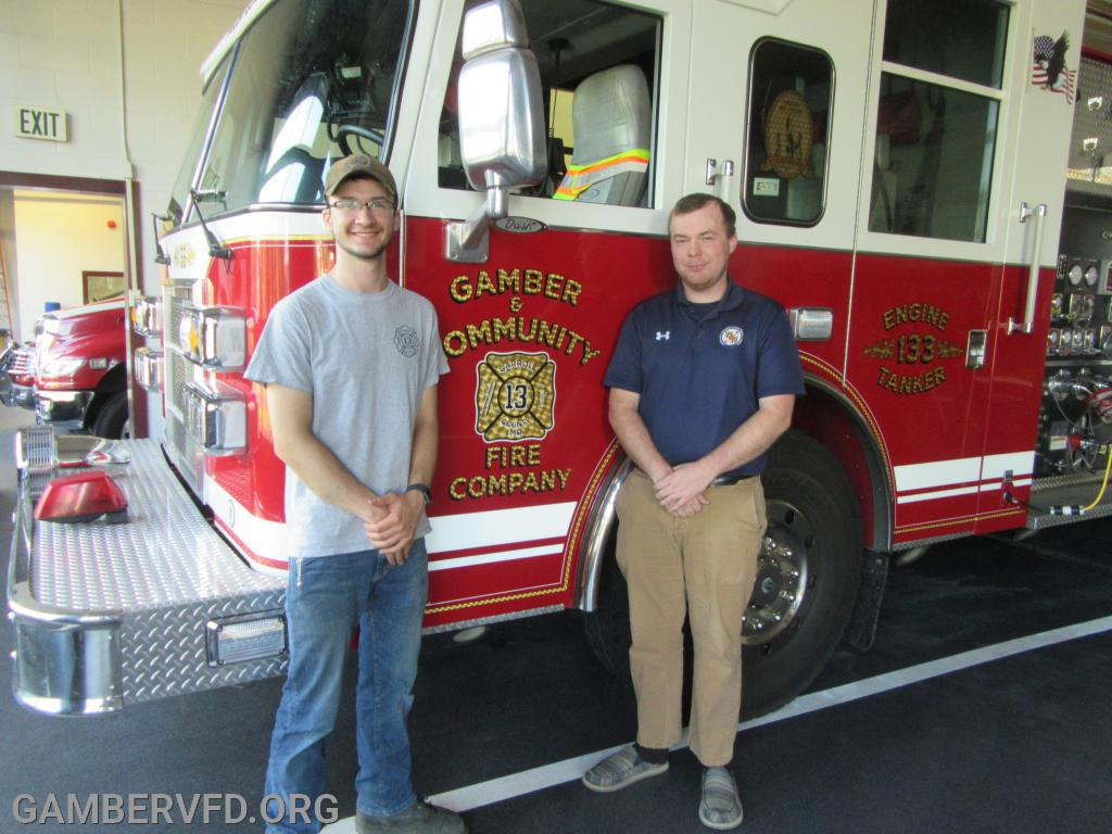 Gamber & Community Fire Co. scholarship winners, Jack Bez (l) and Todd Tracey.