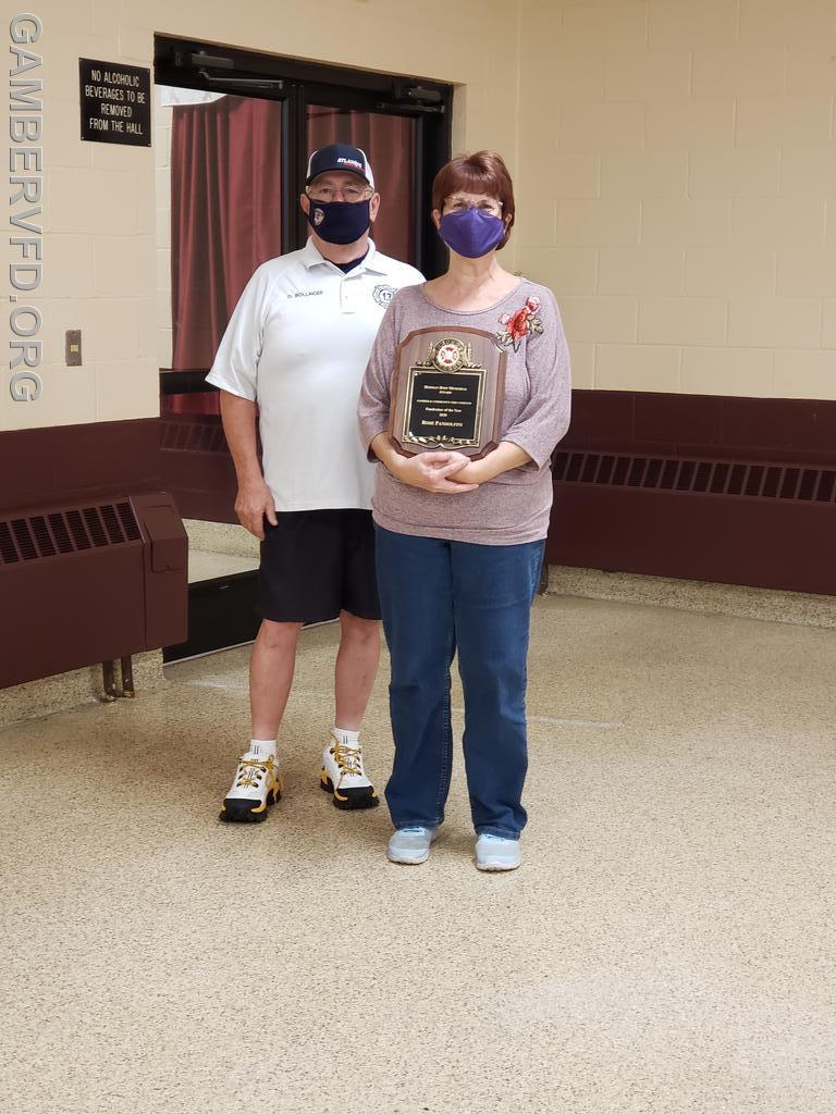Rose Pandolfini was presented with the Herman Hoff Memorial Award for outstanding service in fund raising. President Dale Bollinger presented the award.