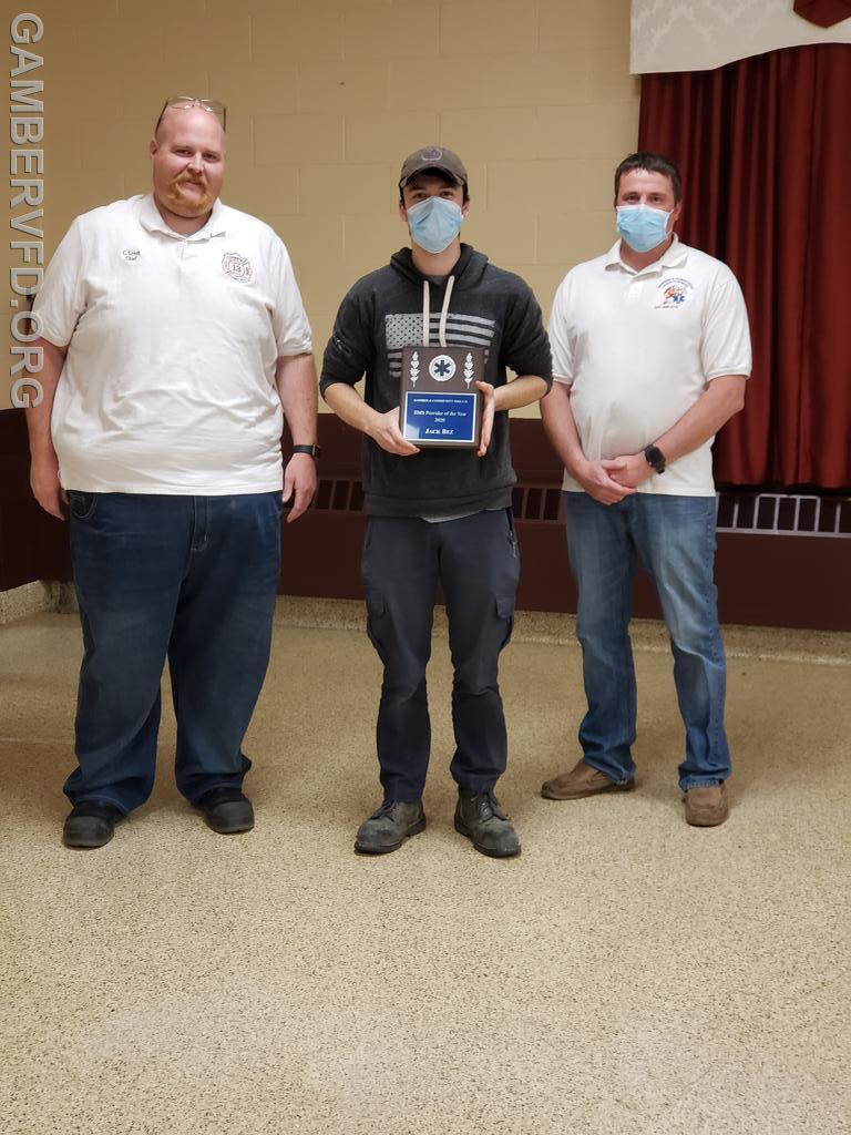 The EMS Attendant of the Year award went to Jack Bez. Chief Charlie Green (left) and Assistant Chief Alan Barnes presented the award.