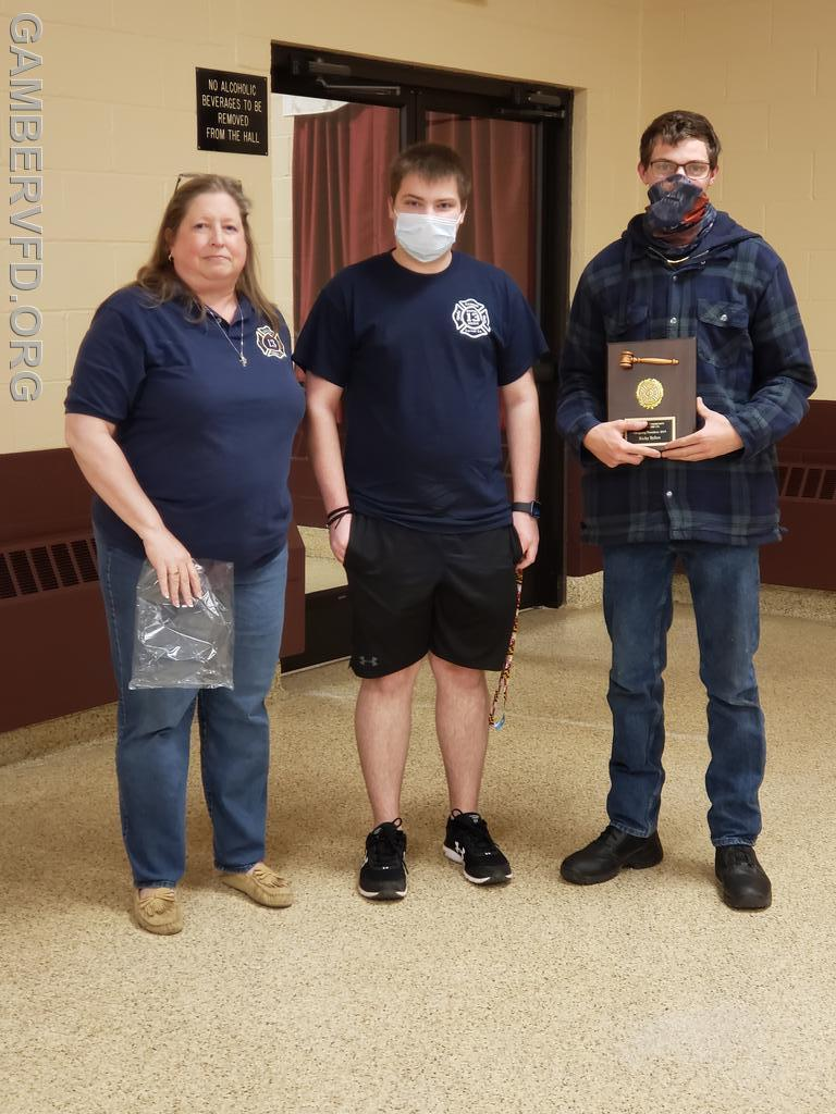 2nd Vice President and Junior Fire Co. chairman, Chrissy Green, presented Past-President Awards to Nick Blizzard (center) and Ricky Syfert. Nick was president of the Junior Fire Co. in 2020 and Ricky was president in 2019.