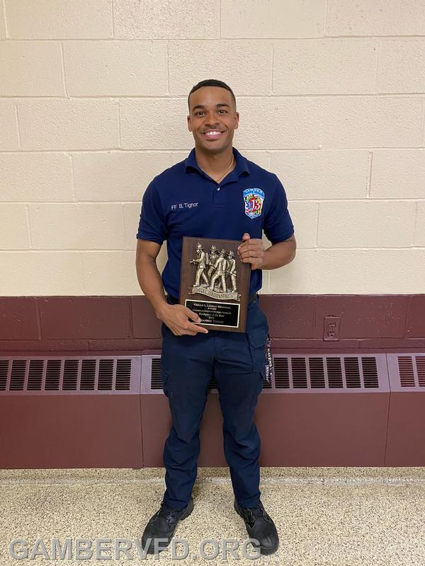 Firefighter Brandon Tignor was honored with The Gerald L. Lindsay Memorial Firefighter of the Year Award for 2020.