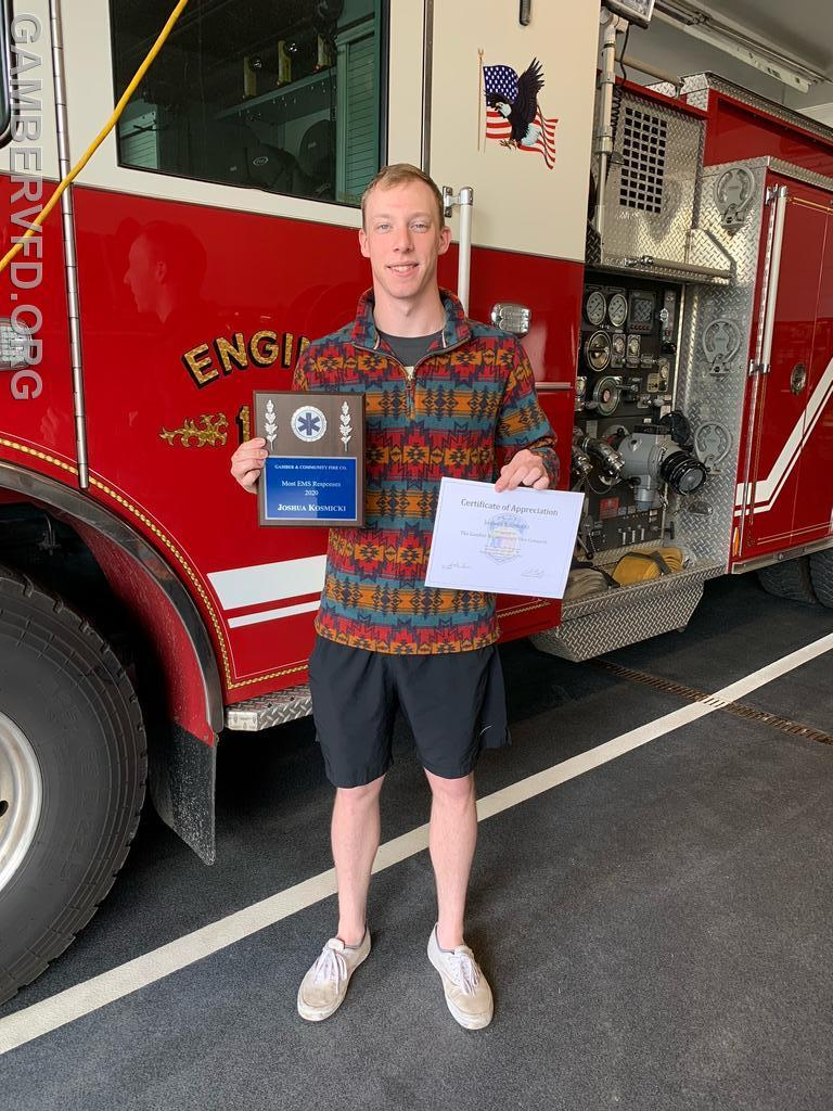 Josh Kosmicki was honored as the top EMS responder for 2020.