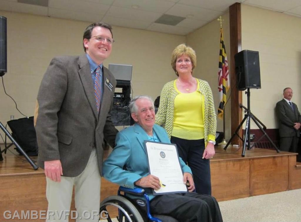 Buddy was honored with a certificate from the Maryland General Assembly on May 10, 2014 at the fire company's 50th Anniversary Banquet. State Senator Justin Ready and Delegate Susan Krebs presented the award.