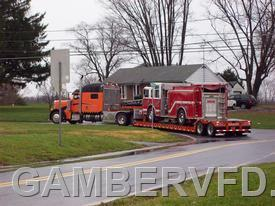 Gamber's old Engine 134 leaves for its new home in Wisconsin on December 7, 2011.