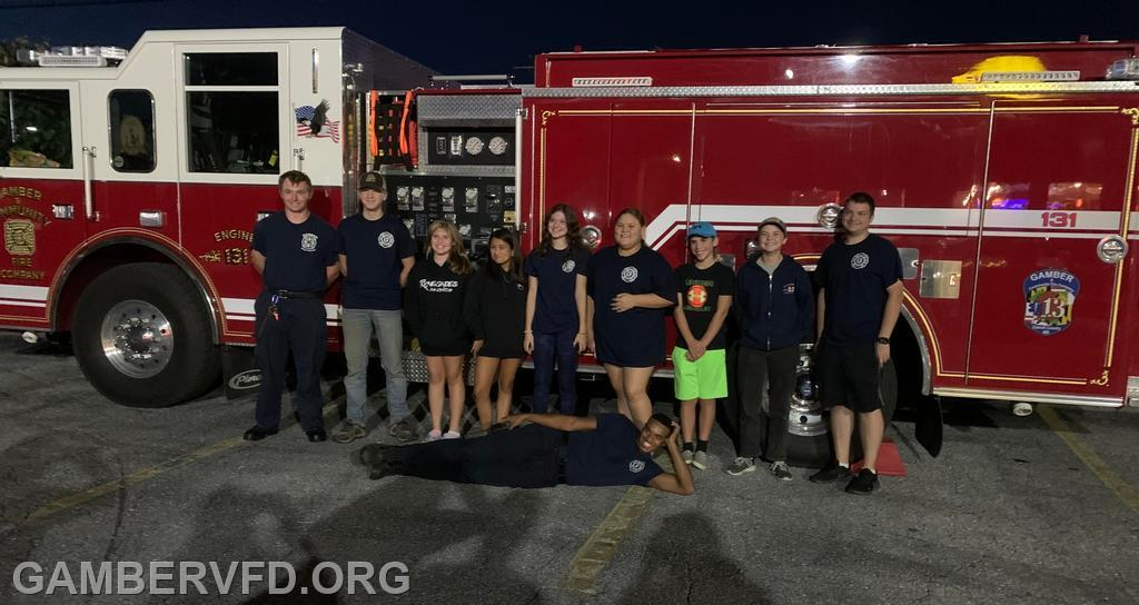 Junior and senior members from Gamber & Community Fire Co. pose for a photo.