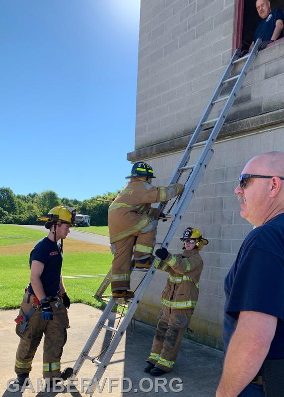 Juniors practice ladder skills.